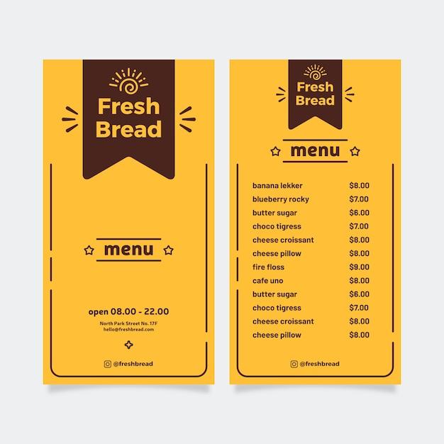 Modello di menu ristorante semplice Vettore gratuito