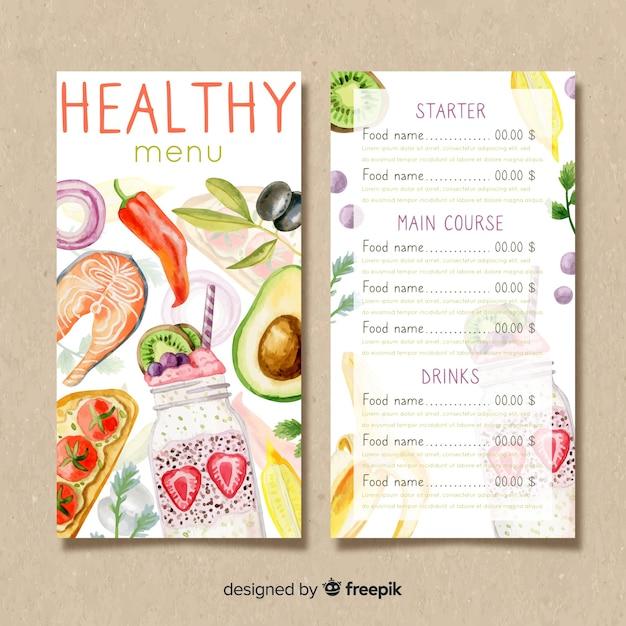 Modello di menu sano dell'acquerello Vettore gratuito
