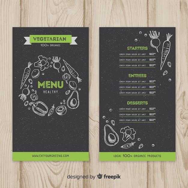 Modello di menu sano lavagna Vettore gratuito