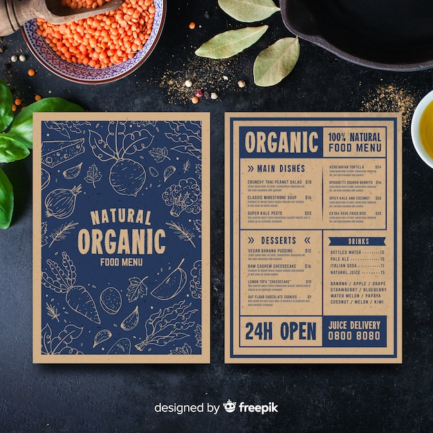 Modello di menu sano vintage disegnato a mano Vettore gratuito