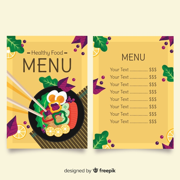 Modello di menu sano Vettore gratuito