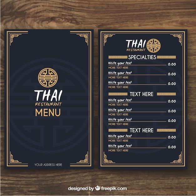 Modello di menu tailandese Vettore gratuito