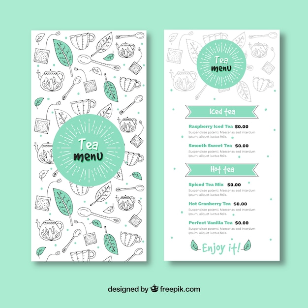 Modello di menu tè disegnato a mano Vettore gratuito