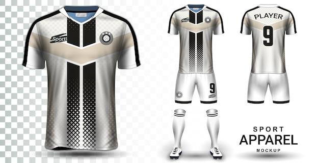 Modello di mockup di presentazione di soccer jersey e football kit Vettore Premium