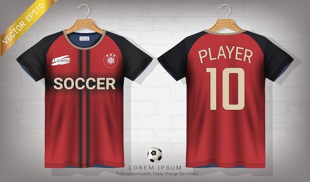 Modello di mockup di sport jersey di calcio e t-shirt Vettore Premium