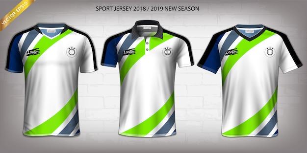 Modello di mockup di sport jersey di calcio e t-shirt. Vettore Premium