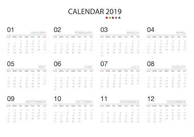 Modello di modello di calendario 2019 Vettore Premium