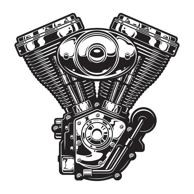 Modello di motore di moto d'epoca Vettore gratuito