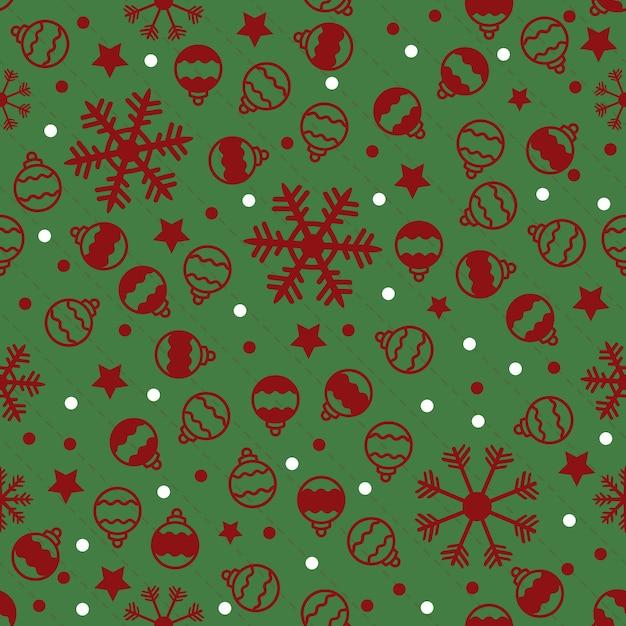 Modello di natale senza saldatura su sfondo verde con neve rossa, stella e palla Vettore Premium