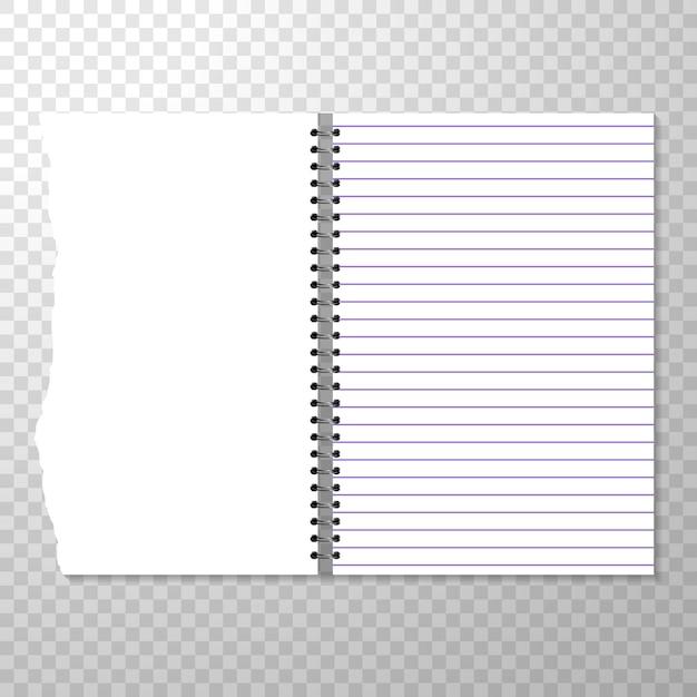 Modello di notebook aperto con pagina allineata e vuota. Vettore gratuito