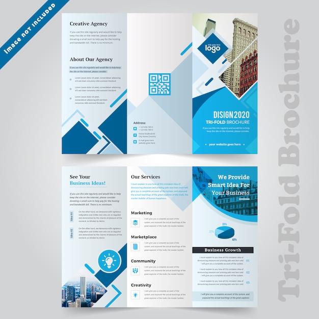Modello di opuscolo aziendale blu a tre ante Vettore Premium