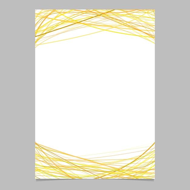 Modello di opuscolo con strisce arcate casuali in toni gialli in alto e in basso - illustrazione su sfondo bianco Vettore gratuito
