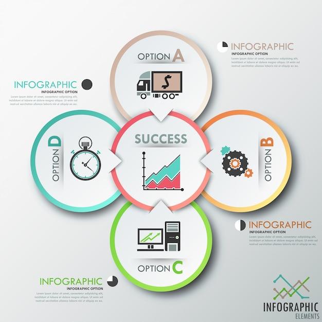 Modello di opzioni infografica moderna con cerchi Vettore Premium