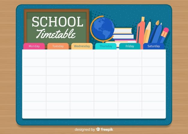 Modello di orario scolastico in stile piatto Vettore gratuito