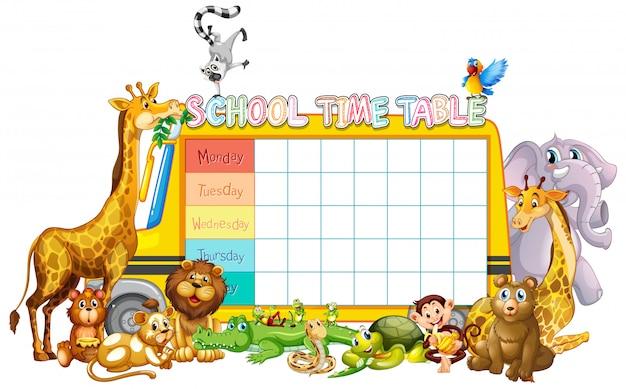 Modello di orario scolastico Vettore gratuito