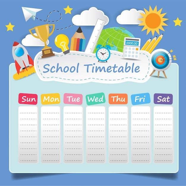 Modello di orario scolastico Vettore Premium