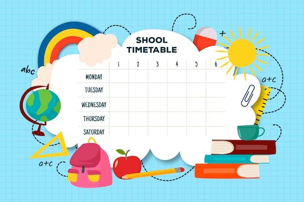 Modello di orario scuola design piatto Vettore gratuito