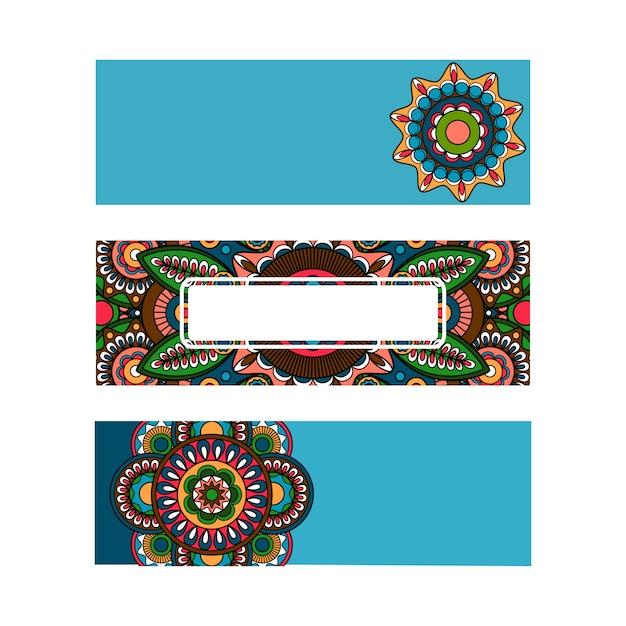 Modello di ornamento orizzontale mandala banner Vettore Premium