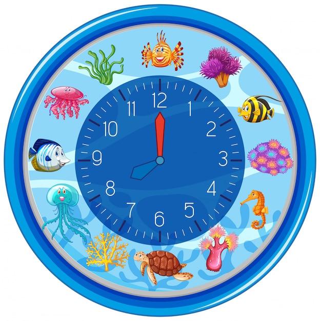 Modello di orologio subacqueo blu Vettore Premium