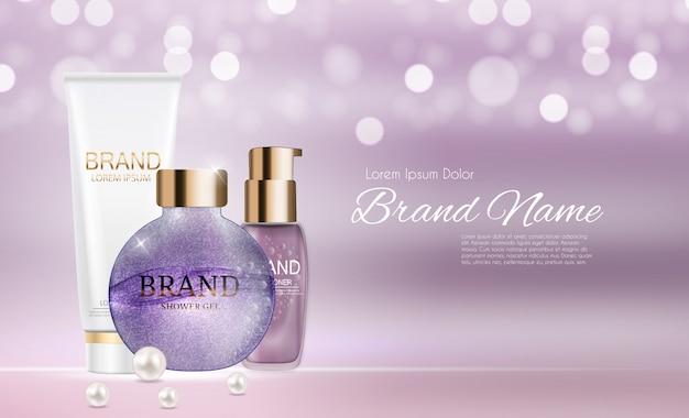 Modello di packaging di prodotti cosmetici design Vettore Premium