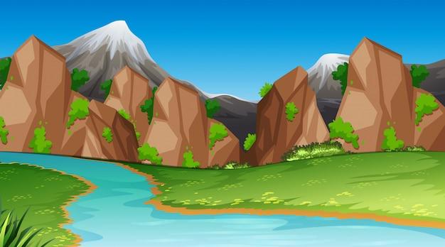 Modello di paesaggio scena natura Vettore gratuito