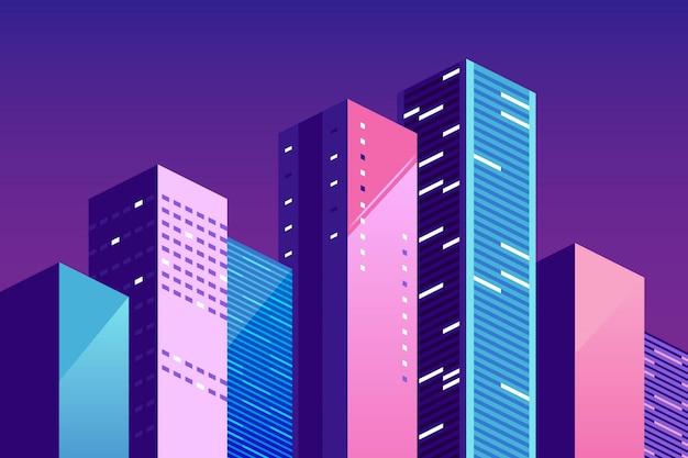 Modello di paesaggio urbano. paesaggio urbano con edifici colorati. vector l'illustrazione orizzontale per un sito web sulla vita di città, la comunicazione sociale, concetto. Vettore Premium