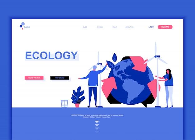 Modello di pagina di atterraggio piatto di ecology earth Vettore Premium