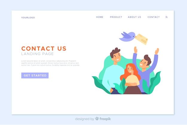 Modello di pagina di destinazione a contatto piatto Vettore gratuito