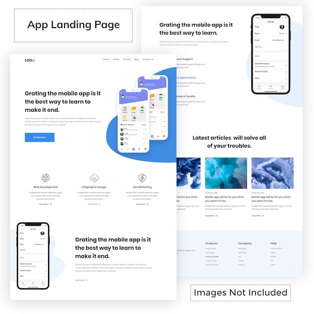 Modello di pagina di destinazione app moderna Vettore Premium
