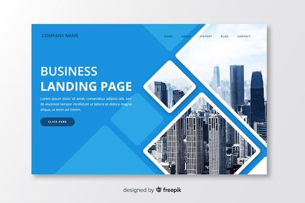 Modello di pagina di destinazione aziendale con foto Vettore gratuito