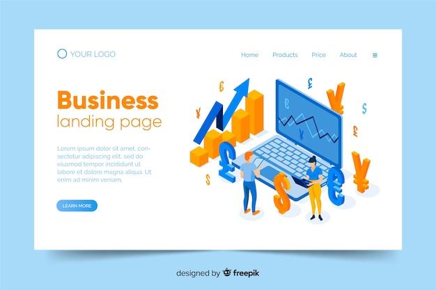 Modello di pagina di destinazione aziendale isometrica Vettore gratuito