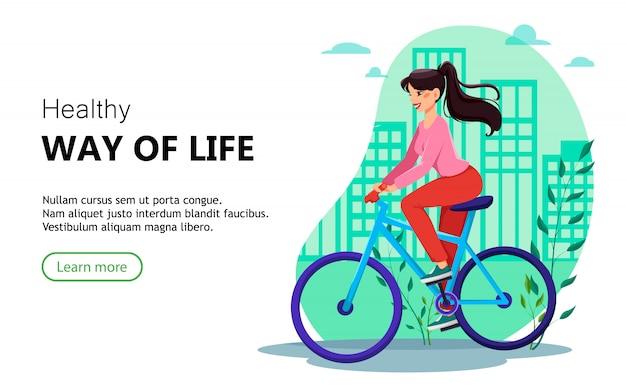 Modello di pagina di destinazione. bella donna in sella a una bicicletta Vettore Premium