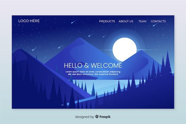Modello di pagina di destinazione benvenuto con paesaggio Vettore gratuito