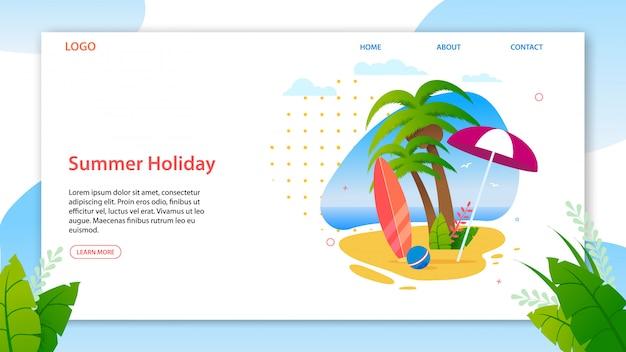 Modello di pagina di destinazione che promuove le migliori vacanze estive sull'isola tropicale. homepage per agenzia di viaggi Vettore Premium