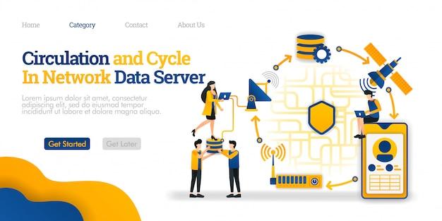 Modello di pagina di destinazione. circolazione e ciclo nel server di dati. panoramica dei dati di comunicazione di rete da un telefono Vettore Premium