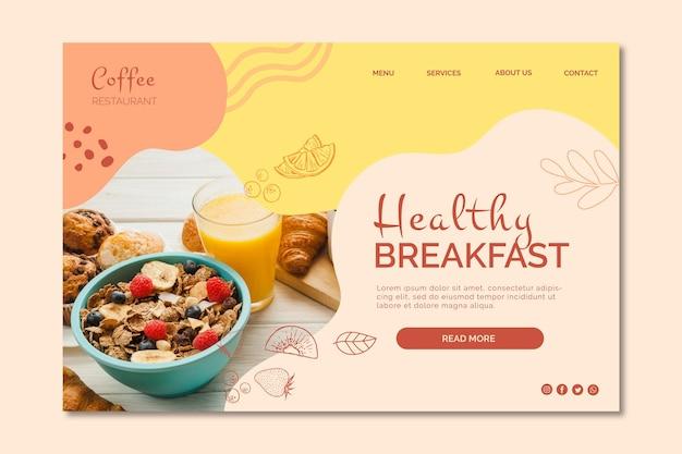 Modello di pagina di destinazione colazione sana Vettore gratuito