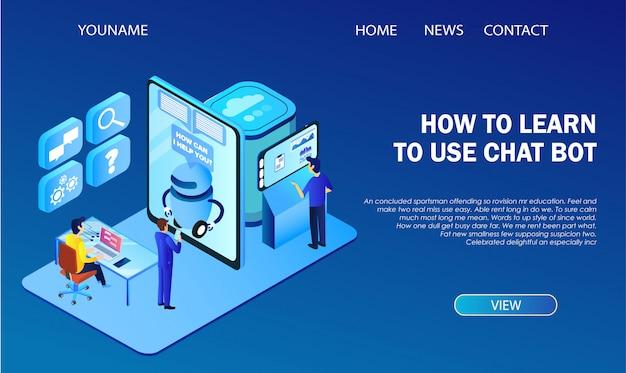 Modello di pagina di destinazione. come imparare a utilizzare infographics di chat bot. hi-tech Vettore Premium
