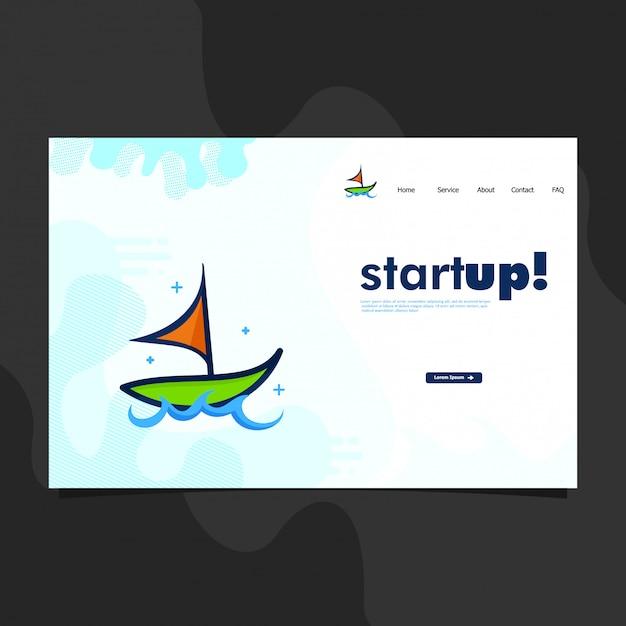 Modello di pagina di destinazione con barca Vettore Premium