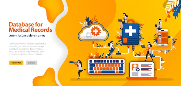 Modello di pagina di destinazione con database cloud per cartelle cliniche e sistemi di comunicazione ospedalieri collegati in wifi, smartphone e laptop Vettore Premium
