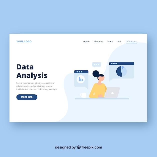 Modello di pagina di destinazione con il concetto di analisi dei dati Vettore gratuito