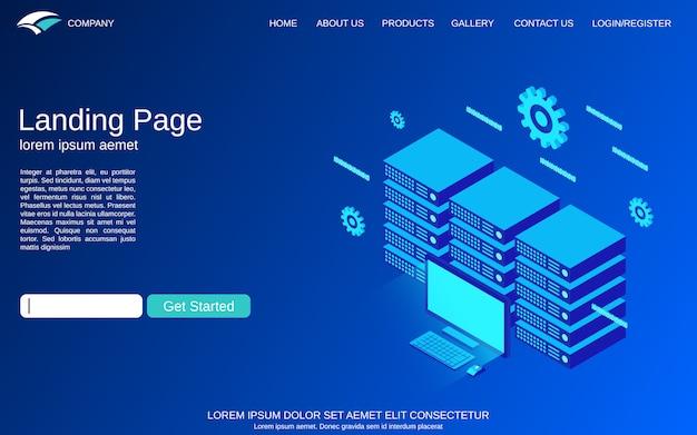 Modello di pagina di destinazione con illustrazione di concetto di vettore del server web Vettore Premium