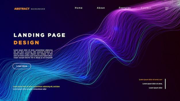 Modello di pagina di destinazione con sfondo di tecnologia Vettore Premium
