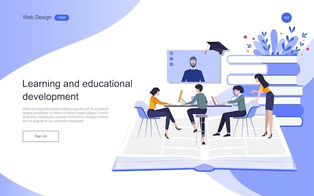 Modello di pagina di destinazione. concetto di educazione per l'apprendimento, la formazione e i corsi online. Vettore Premium