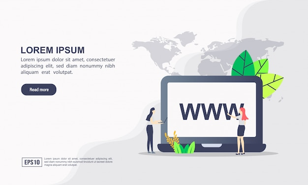 Modello di pagina di destinazione. concetto di illustrazione dominio con carattere. Vettore Premium