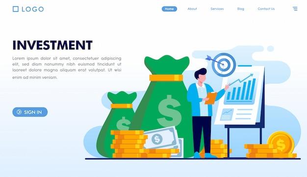 Modello di pagina di destinazione degli investimenti Vettore Premium