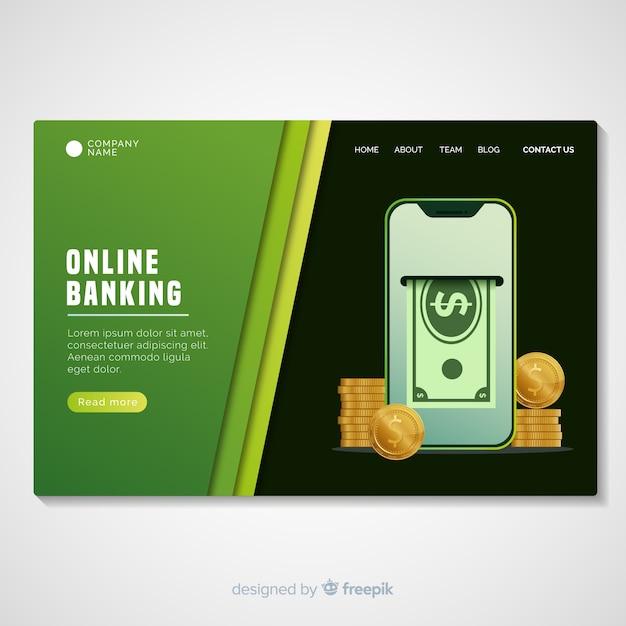 Modello di pagina di destinazione del banking online Vettore gratuito