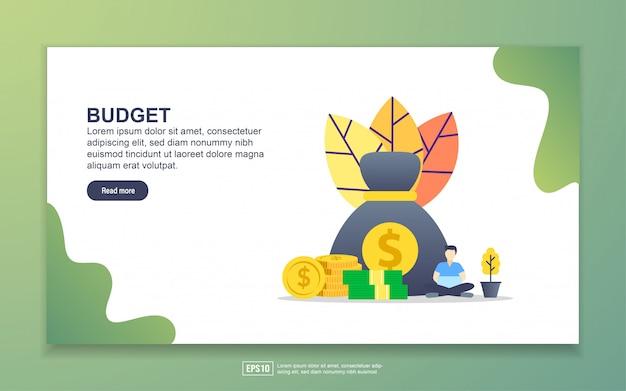 Modello di pagina di destinazione del budget. concetto di design moderno piatto di design della pagina web per sito web e sito web mobile. Vettore Premium