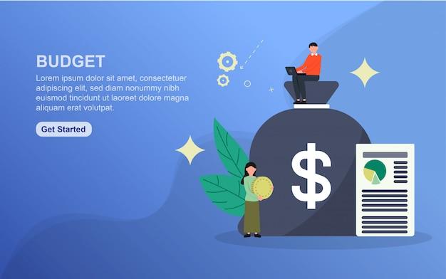 Modello di pagina di destinazione del budget. concetto di design piatto di progettazione di pagine web per sito web Vettore Premium