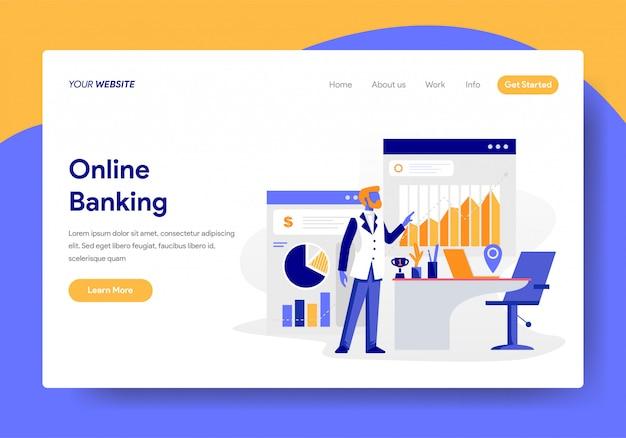 Modello di pagina di destinazione del concetto di attività bancarie online Vettore Premium