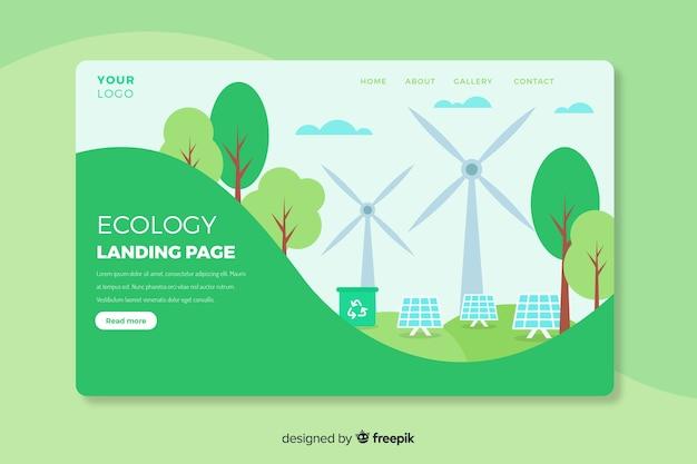 Modello di pagina di destinazione del concetto di ecologia Vettore gratuito
